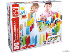 Bei der Bestellung im Onlineshop der-Wegweiser erhalten Sie das Domino fantastico mit 100 Dominosteine vom Hersteller Hape.