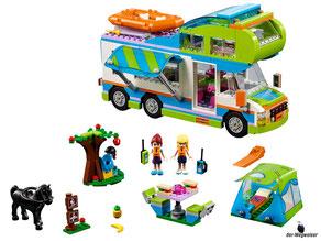 Im Paket Lego 41339 Heartlake Mias Wohnmobil sind 488 Einzelteile, ein Wohnmobil, ein Schlauchboot, eine Spielfigur Mia, eine Spielfigur Stephanie, ein Pferd Aria mit sehr viel Zubehör enthalten.