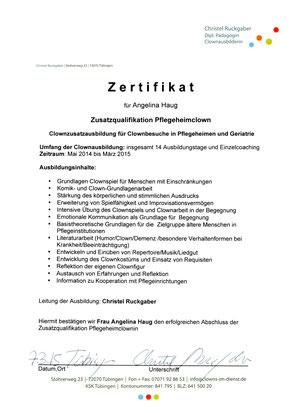 Zertifikat für Angelina Haug zur Zusatzqualifikation zum Pflegeheimclown bei Christel Ruckgaber
