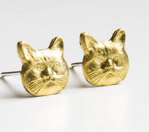 messing ohrstecker katze cat kitty earring jewelry fashion