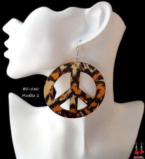 Boucles d'oreilles anneaux en bois pendants léopard