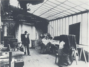 Glashaus-Atelier in Berlin um 1900