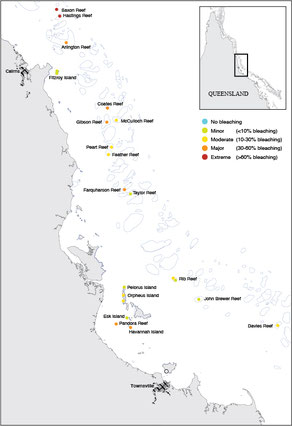 The AIMS coral bleaching monitoring team visited 21 reefs between Townsville and Port Douglas over 26 days. Other Taskforce teams have conducted in-water surveys in other sections of the Great Barrier Reef