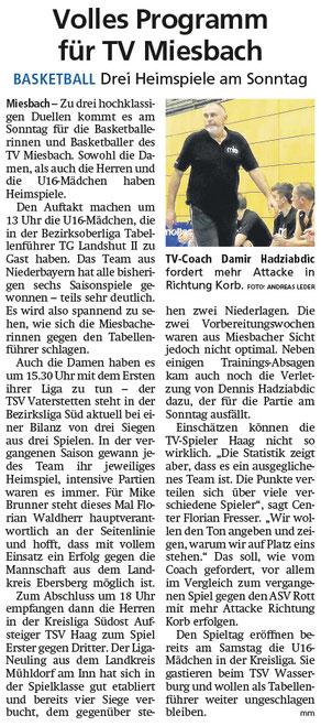 Artikel im Miesbacher Merkur am 30.11.2019 - Zum Vergrößern klicken