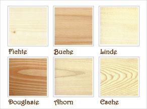 Holzarten, die ich verwende