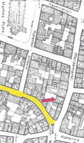 Stadtplan 1943 (Pferdemarkt ansteigend zur Unteren Königsstraße)