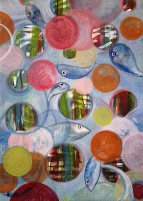 peinture poissons sur toile