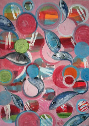 poissons sur toile