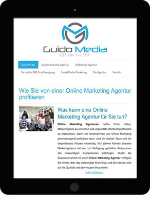 Website auf Tablet Guido Media Online Marketing