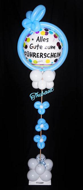 Ballon Luftballon Ständer Geschenk Mitbringsel Mädchen Junge Führerschein bestanden Prüfung Alles gute mit Namen Personalisierung Geschenkballon Versand Deko Dekoration Party Feier Überraschung