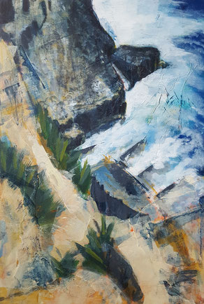 """Dancing Ledge #1"" 30.5 x 45.9cm mixed media on cradled board. DL01mm"