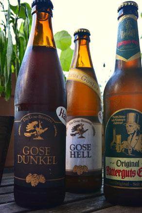 Verschiedene Gose-Biere aus Goslar. Die Gose  gehört zu den ältesten deutschen Biertypen.