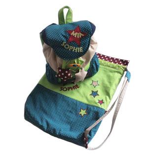 Rucksack und Turnbeutel mit Sternen für Mädchen