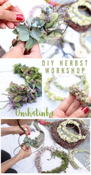 DIY Herbst Workshop 2019 bei Unikatinka,herbstdeko.kranz binden, haarkranz selber machen,diy dekoration