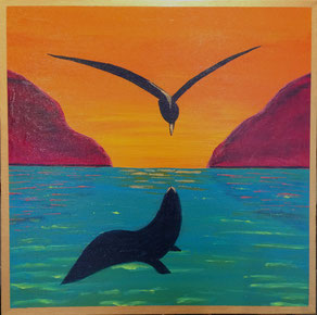 """Bird & Seal"" 46cm x 46cm Acrylic on Canvas $300 (excluding freight)"