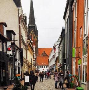 Die Rote Straße in Flensburg.