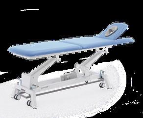 Gymna G2 Liegen. Modular zusammenstellbare Behandlungsliegen. Optional mit Rundumschaltung, versenkbaren Armstützen und Radsystem.