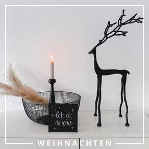 """Filigraner Hirsch """"Cerbi"""" . Dieser Metall Hirsch passt durch seinen skandinavischen Look in jede Weihnachtsdeko hinein."""