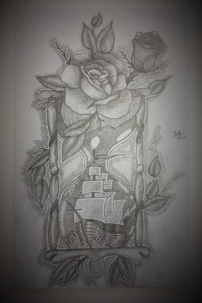 Zeichnung schwebend aufgelegt