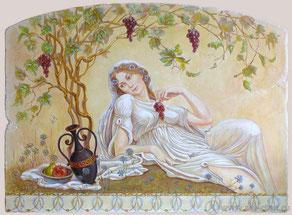 Для кухни квартиры выполнена  искусственно состаренная фреска, с элементами утраты штукатурки и красочного слоя мелкими и крупными трещинами.