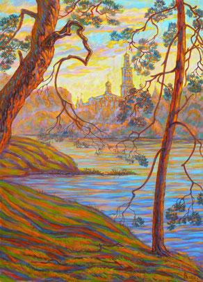 «Окские луга Пощупово» размер полотна 70 х 50 см, холст, акрил.