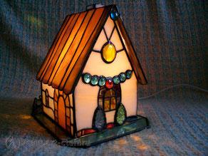 Витражный светильник домик с полисадником