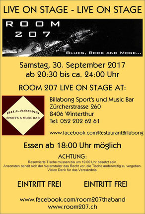 ROOM 207, Billabong Sport's und Music Bar, Winterthur, 30.09.2017,  Zürcher Bluesband, Bluesband Zürich, Blues Zürich, Kai Bachmann, Mark Schneiter, Kurt Zaugg, Franz Varga, Josef Varga, Daniel Ebnöther, Blues Rock and more