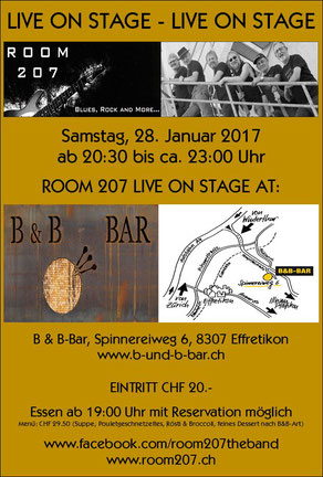 ROOM 207, B&B-Bar, Effretikon, 28.01.2017,  Zürcher Bluesband, Bluesband Zürich, Blues Zürich, Kai Bachmann, Mark Schneiter, Kurt Zaugg, Franz Varga, Josef Varga, Ruedi Kasper, Blues Rock and more