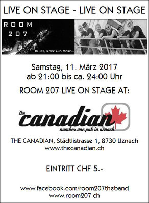ROOM 207, The Canadian #1 Pub, Uznach, 11.03.2017,  Zürcher Bluesband, Bluesband Zürich, Blues Zürich, Kai Bachmann, Mark Schneiter, Kurt Zaugg, Franz Varga, Josef Varga, Ruedi Kasper, Blues Rock and more