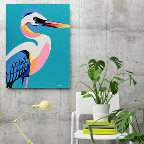 canvas print with colorful bird illustration
