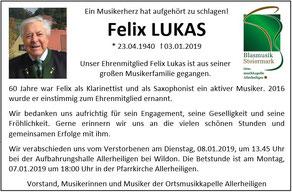 Wir trauern um Ehrenmitglied Felix Lukas