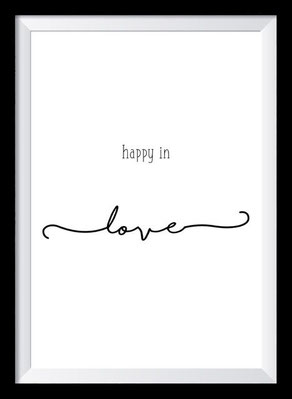 Typografie Poster Liebe, Happy in love