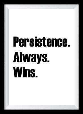 Typografie Poster, Typografie Print Motivation, persistence always wins