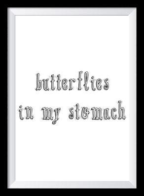 Typografie Poster Liebe, Butterflies in my stomach