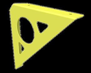 Equerre console couleur jaune soufre pour tablette murale.
