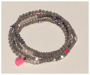 Armband, 4fach, Glasfacettperlen, Myukiperlen, Accrylperlen, Metallzwischenteilen auf Silikonband.