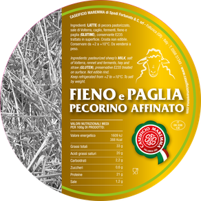 pecorino maremma new taste sheep sheep's cheese dairy caseificio tuscany tuscan spadi follonica label italian origin milk italy matured aged flavored flavor fieno e paglia affinato refine refined hay and straw