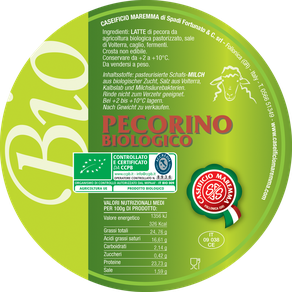 pecorino sheep sheep's cheese dairy caseificio tuscany tuscan spadi follonica label italian origin organic biological bio certificated logo milk italy fresh tender  biologico