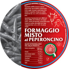 maremma mixed mix cow cow's sheep sheep's cheese dairy caseificio tuscany tuscan spadi follonica label italian origin milk italy fresh chili red hot pepper flavored flavor formaggio misto al peperoncino