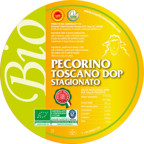 pecorino sheep sheep's cheese dairy caseificio tuscany tuscan spadi follonica label italian origin organic biological bio certificated logo milk italy matured aged tender  biologico dop pdo certified