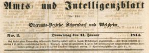 Intelligenzblatt für die Oberamtsbezirke Schorndorf und Welzheim. 1835-1861.