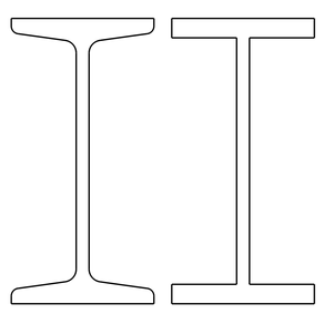 Figure 1: On the left a narrow I-beam I100, on the right the simplified model.