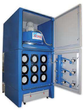 Il filtro a cartucce orizzontali IPERJET DF MAX trova applicazione nell'aspirazione e filtrazione di fumi di saldatura, polveri grossolane e fini, trucioli in modesta quantità, polveri e fumi da taglio termico