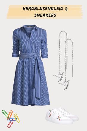 luftiges Hemdblusenkleid zu stylischen Sneakern)