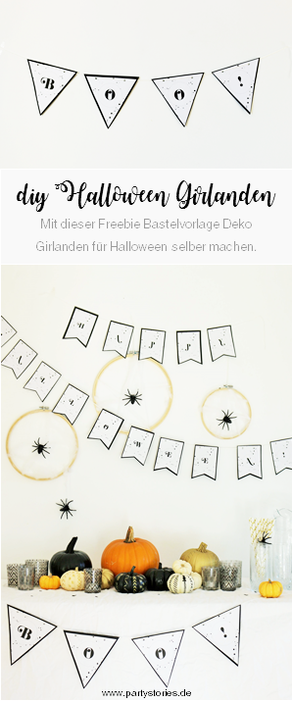 DIY Halloween Party Deko Ideen: Mit dieser Freebie Bastelvorlage Girlanden als Dekoration für Halloween & die Halloween Party einfach aus Papier selber machen! // Bastelvorlage & Anleitung von partystories.de // #halloween #halloweenparty #diydeko