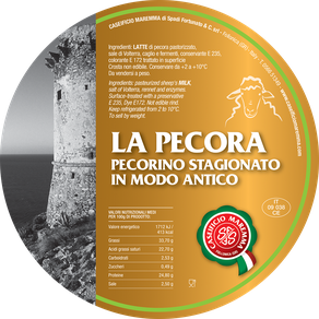 maremma pecora formaggio pecorino caseificio toscano toscana spadi follonica etichetta italiano origine latte italia stagionato modo antico