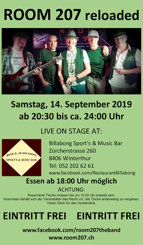"ROOM 207 reloaded, Billabong Sport's & Music Bar, Winterthur, 14.09.2019,  Zürcher Bluesband, Bluesband Zürich, Blues Zürich, Kai Bachmann, Mark ""The Harp"" Schneiter, Mäck De Massari, Chris Fletcher, Daniel Ebnöther, Blues Rock and more"