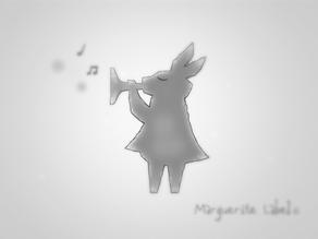 ラッパを吹くうさぎさんイラスト マーガレットレーベル©
