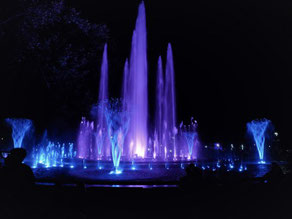 Musikbrunnen Margareteninsel Budapest im Dunkeln