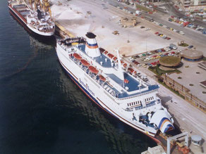 Quiberon, chartered by Brittany Ferries from 1982, featured in Santander.